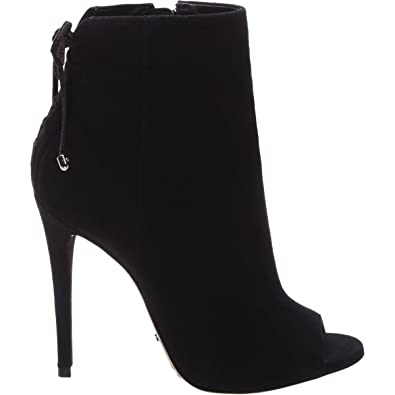 e544b1f5a9f2 SCHUTZ Women s Black Mobi Suede Ankle Peep Toe High Heel Stiletto Ankle  Boots ...
