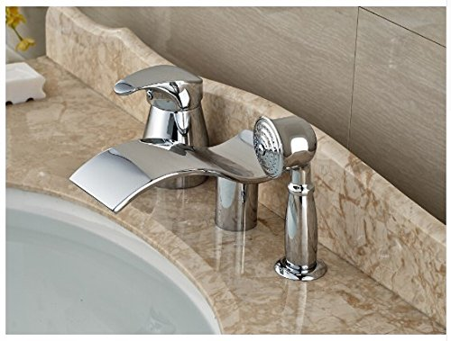 Gowe Luxury Bathroom Basin Deck Mounted Sink Faucet Waterfall Mixer tap With Hand Shower Chrome Finished 1