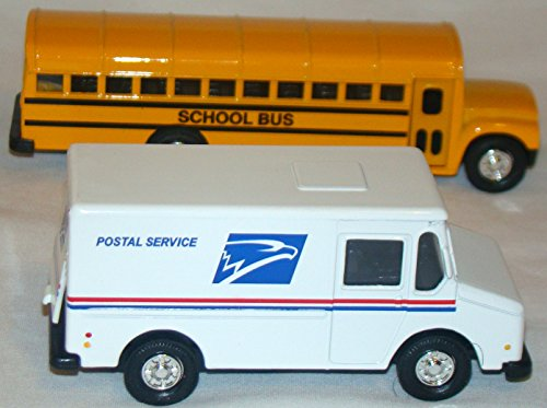 District School Bus  6 Inch  And Mail Postal Delivery Truck  4  Inch  Set Of 2 Die Cast Vehicles  District