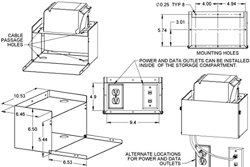 Printer Wall Mount with Storage Compartment PQS PN 80691-CH by Practical Quality Systems (Image #2)