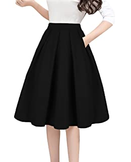 107902f1d04a Tandisk Women's Vintage A-line Printed Pleated Flared Midi Skirts with  Pockets