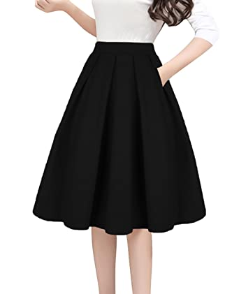 86067b388154 Tandisk Women's High Waist Flared Skirt Pleated Midi Skirt with Pocket  Black S