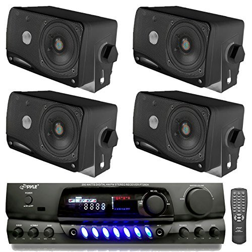 4) Pyle PLMR24B 3.5″ 200W Box Speakers + PT260A Home Digital Stereo Receiver