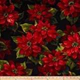 Michael Miller Scarlet Poinsetta Black Fabric By The Yard