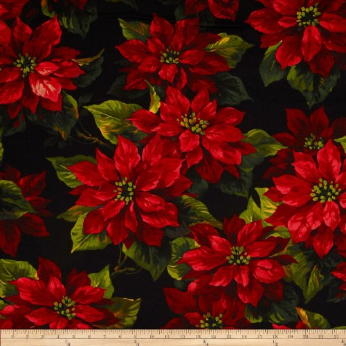 Michael Miller Scarlet Poinsetta Black Fabric by The Yard]()