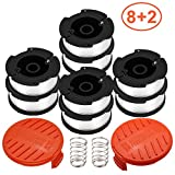 ZONOWN 8 Pack Weed Eater Replacement Spools Compatible with Black&Decker AF-100 LST420 GH900 String Trimmer, 30ft 0.065' Trimmer Line, 2 Pack Spool Cap & Spring(8 Spool,2 Cap&Spring)