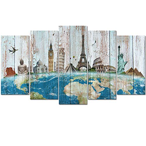 Welmeco Large 5 Pieces Wonders of The World Map Picture on Rustic Green Wood Textured Background Canvas Prints Premium Travel Artwork for Modern Home Office Decor Gifts (01 Travel Map)