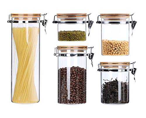 (Clear Glass Airtight Food Storage Canisters Containers For The Kitchen Glass Storage Jars With Clamp Bamboo Lids Pasta Spaghetti Coffee Bean Tea Flour Sugar Canister Cookies Candy Jar 5 Piece)