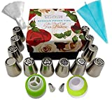 Russian Piping Tips Flower Frosting tips Set Cake Decorating Supplies Cake Baking Supplies Set 12 Icing Nozzles 1 Single Coupler 1 Tri Color Coupler 2 Leaf Tips 1 Silicone Bag 10 Pastry Baking Bags