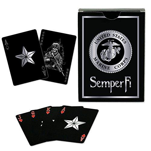 USMC Black & Silver Foil Metallic Marine Corps Playing Cards