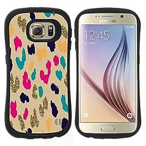 """Hypernova Slim Fit Dual Barniz Protector Caso Case Funda Para Samsung Galaxy S6 [Patrón del guepardo del leopardo del oro Animal""""]"""