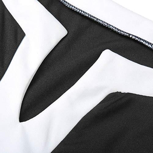 Donna Donna Camicia Tumblr Flare Top Camicia Lungo Maglietta Donna Kword Nero Camicie Pullover Camicetta di Ragazza Manica Tops Felpe Patchwork qBEwR