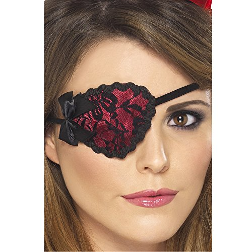 Red & Black Lace Pirate Eye Patch