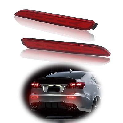 GTINTHEBOX 3D Optic Fish Bone Style Red LED Rear Bumper Reflectors Brake Tail Lights Lamps For Lexus RC250 RC350 IS-F GX470 Toyota REIZ Sienna Matrix Venza Avalon: Automotive