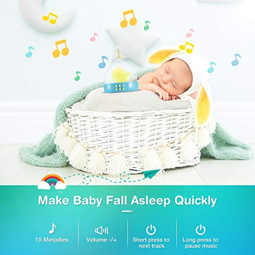 OMORC Baby Crib Mobile with Night Light Music Box, Musical Crib Toys with 5 Hanging Rattles, Infant Bed Nursery Decoration, Perfect Gift for Baby Sleeping and Shower Bath