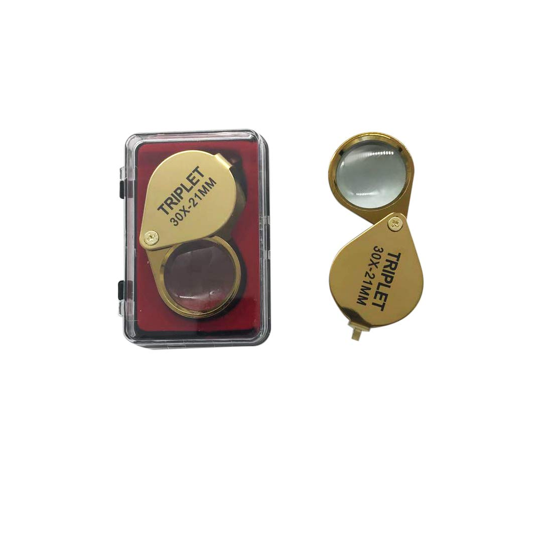 Gold iKKEGOL 30 X 21mm Glass Jeweler Loupe Loop Eye Magnifier Magnifying Magnifier Metal Body Silver