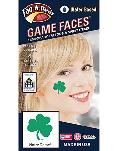 Fan A peel Notre Dame (ND) Fighting Irish - Water Based Temporary Spirit Tattoos - 4-Piece - Green 3-Leaf Clover