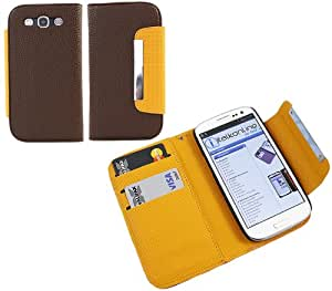 iTALKonline LEATHER Marrón NARANJA Ejecutivo Cartera Libro Funda Piel Cubierta con Soporte de tarjeta de Crédito/negocios y correa de mano para Samsung T999Galaxy S III