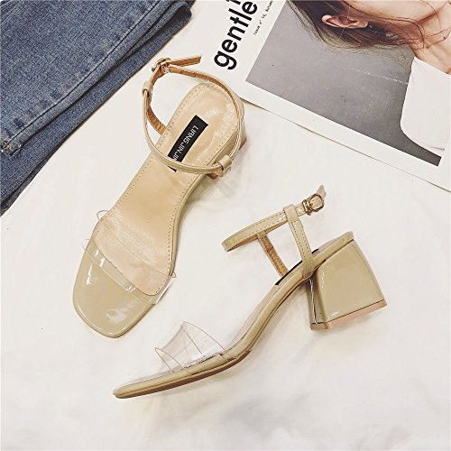 Hollow Heeled Roman Toe with Beige Version Korean The Sandals Shoes Buckle ZHANGJIA with Female of Summer Word Simple High Shoes Open Transparent Thick 67wngx5qCR