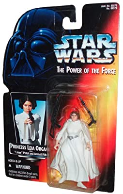 "Star Wars Year 1995 The Power of the Force 4 Inch Tall Action Figure - Princess LEIA ORGANA with ""Laser"" Pistol and Assault Rifle"