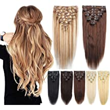 8Pcs 18 Inch Standard Thick Weft 100% Real Human Hair Remy Hair Extensions Clip In Extensions - Ash Brown Mix Bleach Blonde