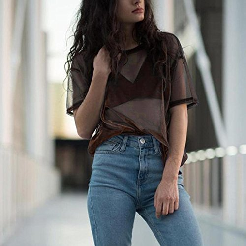 Amazon.com: Womens T-Shirt,Sexy ANJUNIE Fashion Openwork Transparent Round Neck Short-Sleeved top: Clothing