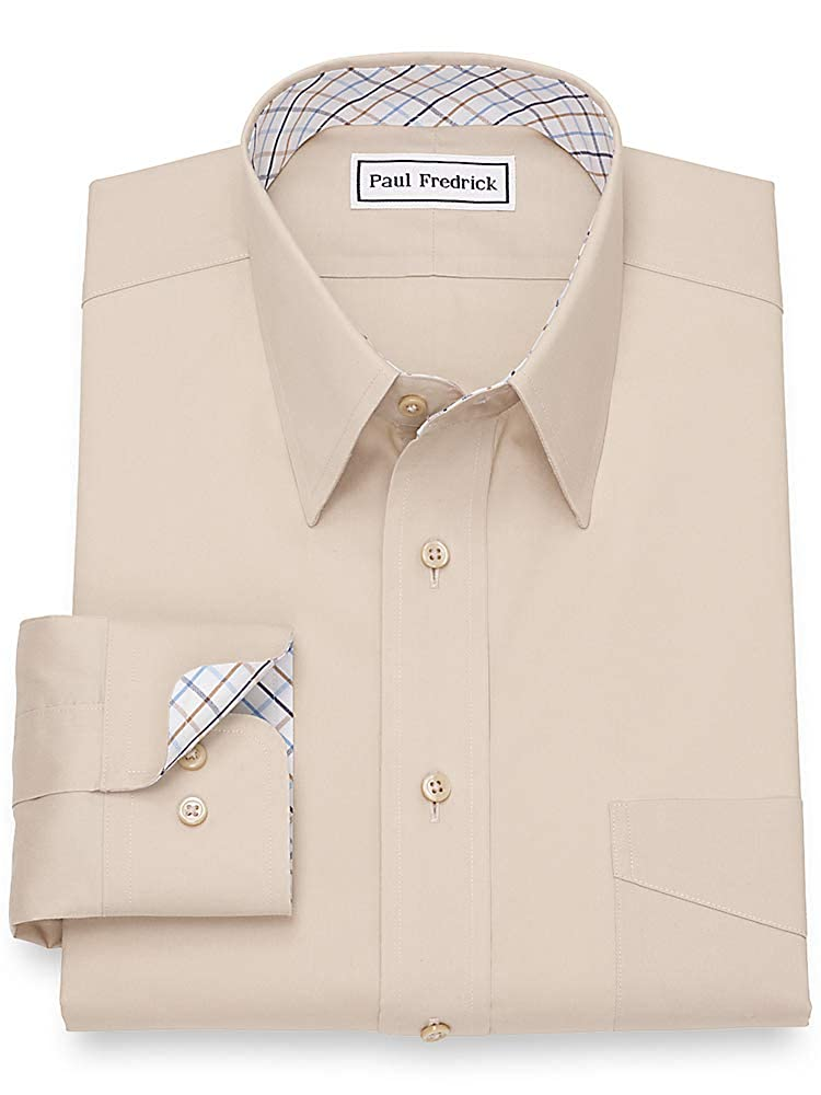 Mens 100/% Cotton Non Iron White Pinpoint Button Cuff Dress Shirt