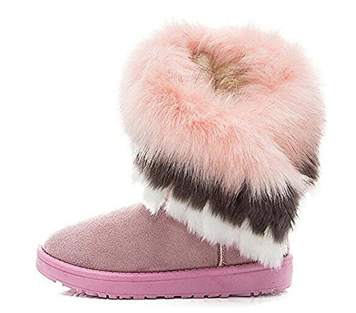 Naughtyangel Women Winter Warm Snow Ankle Boots Low Heels Faux Fox Rabbit Fur Tassel Shoes Pink X7Zw0wsJy