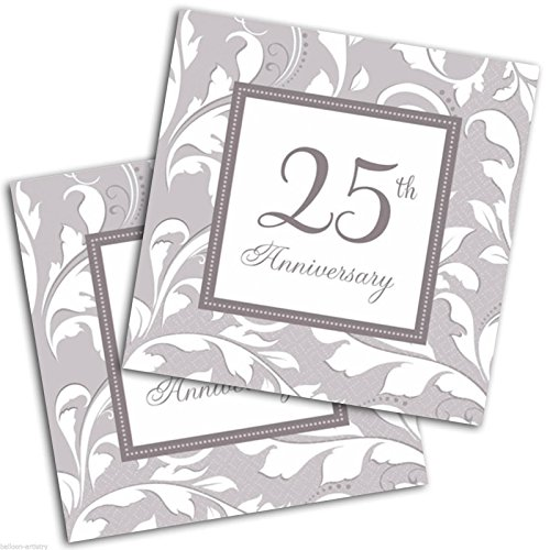 Amscan 5138501 Luncheon Napkins Party Supplies,  6 1/2in, Silver (Anniversary Napkins 25th)