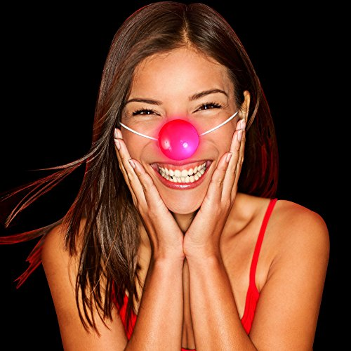 Fun Central M865, LED Light Up Flashing Clown Nose, Light up Red Nose, Blinking Reindeer Nose, Light up Clown Nose Toy- for Halloween, Costume Party, Birthdays, Circus, Carnival Themed Celebrations