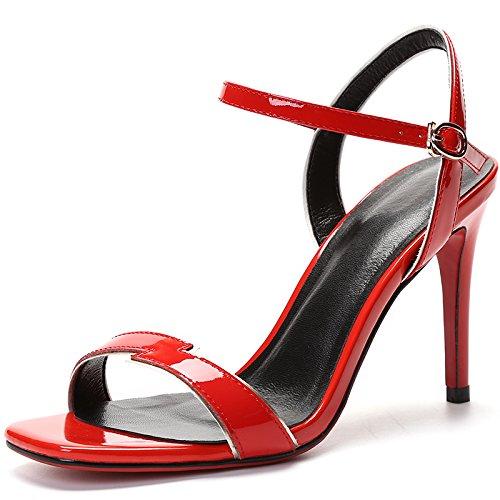de las de alto de talón zapatos gules de Zapatos de del Hebilla Bellas mujer sandalias tacón YFqdYv