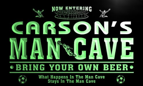 qd1472-g CARSON's Man Cave Soccer Football Neon Beer Sign by AdvPro Name