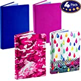 Stretchable Book Cover Design 4 Packs. Fits Most Hardcover Textbooks Up to 9 x 11. Our Nylon Fabric Protector Set is A Needed School Supply for Students. Washable and Reusable
