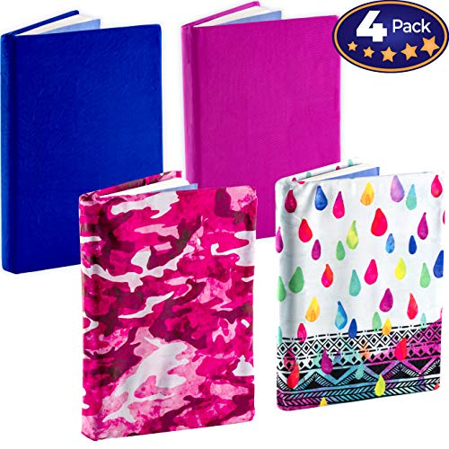 Stretchable Book Cover Design 4 Packs. Fits Most Hardcover Textbooks Up to 9 x 11. Our Nylon Fabric Protector Set is A Needed School Supply for Students. Washable and Reusable by Eucatus