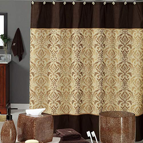 DS BATH Sterling Brown Shower Curtain,Chocolate Polyester Fabric Shower Curtain,Vintage Shower Curtains for Bathroom,Damask Bathroom Curtains,Print Waterproof Shower Curtain,72 W x 78 H