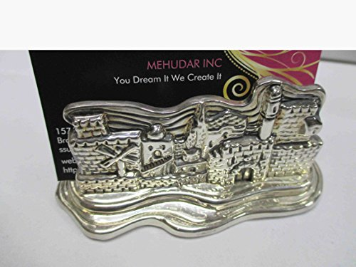 925 Electroforming Sterling Silver Miniature Jerusalem Skyline Business Card Holder Ac-996, Including 1 Piece Wooden Magnet or Keychain As Seen in Picture