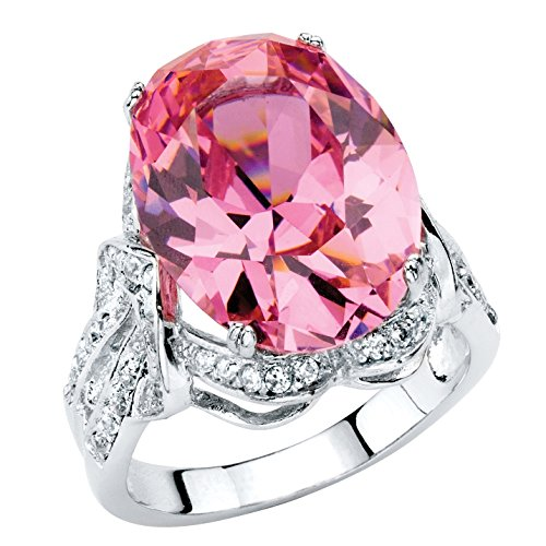 (Palm Beach Jewelry Oval-Cut Simulated Pink Tourmaline Cubic Zirconia Platinum-Plated Faceted Cocktail Ring Size 7)