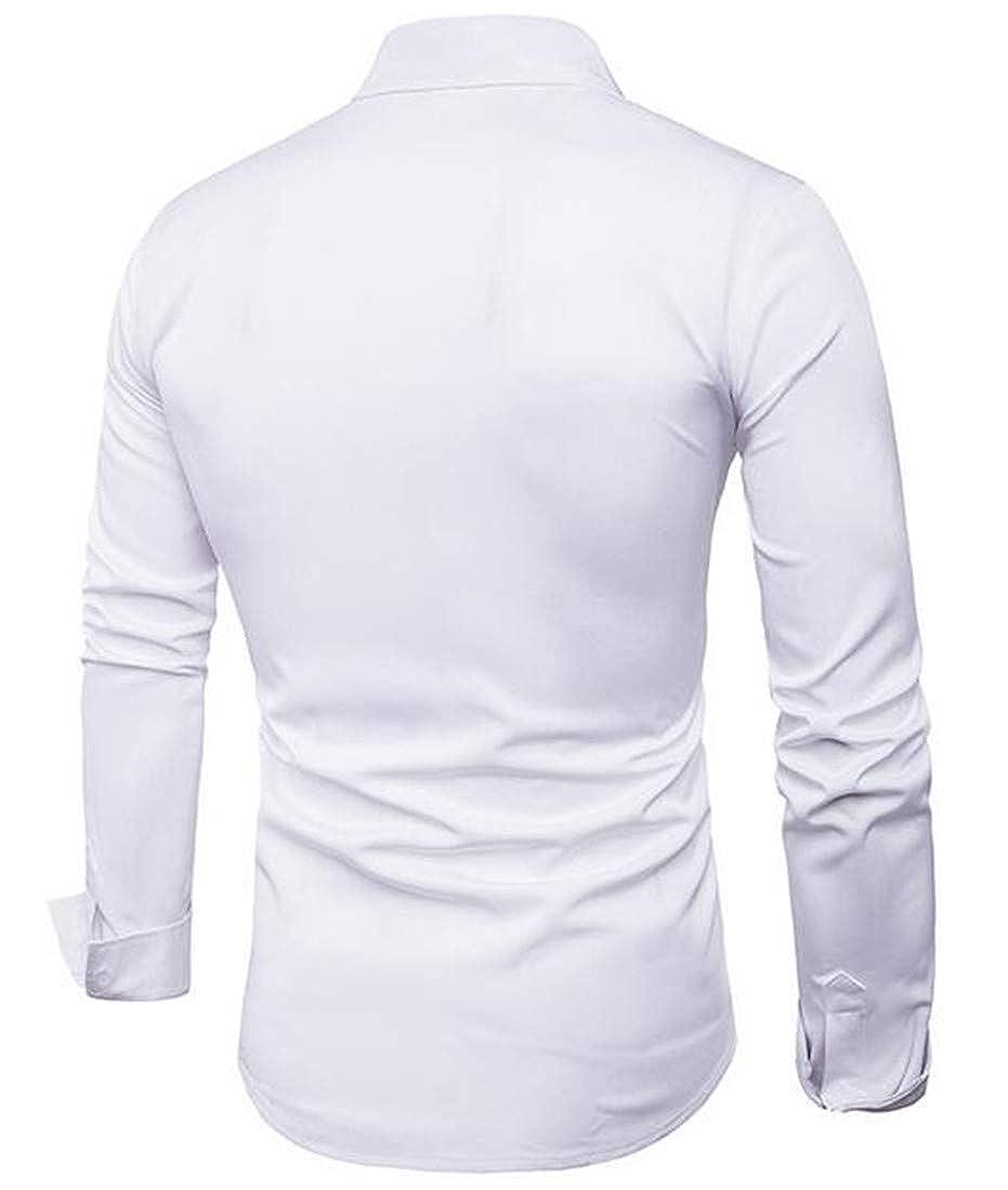 BYWX Men Regular Fit Long Sleeve Autumn Leisure Button Front Shirt Tops