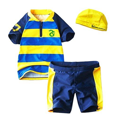 StylesILove Little Dragon Striped Rash Guard 3-piece Boy Swim Set (6) by StylesiLove