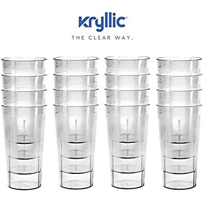 Plastic Cup Tumblers Drinkware Glasses - Acrylic Tumbler Set of 16 Clear Break Resistant 20 oz. Restaurant Quality Tumblers Dishwasher Safe and BPA Free by Kryllic