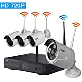 Video Security System, LESHP HD 720P 4CH Video Security System Weatherproof IP66 for Outdoor Indoor Night Vision