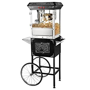 Great Northern Popcorn Old Time Popcorn Popper Machine with Cart, 8-Ounce, Black