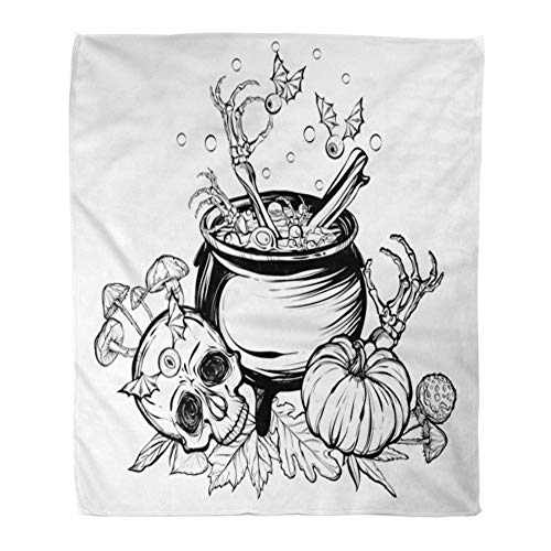 Emvency Throw Blanket Warm Cozy Print Flannel Halloween The Witch Cauldron Skull Leaves Pumpkin Mushrooms on White Tattoos Comfortable Soft for Bed Sofa and Couch 60x80 Inches