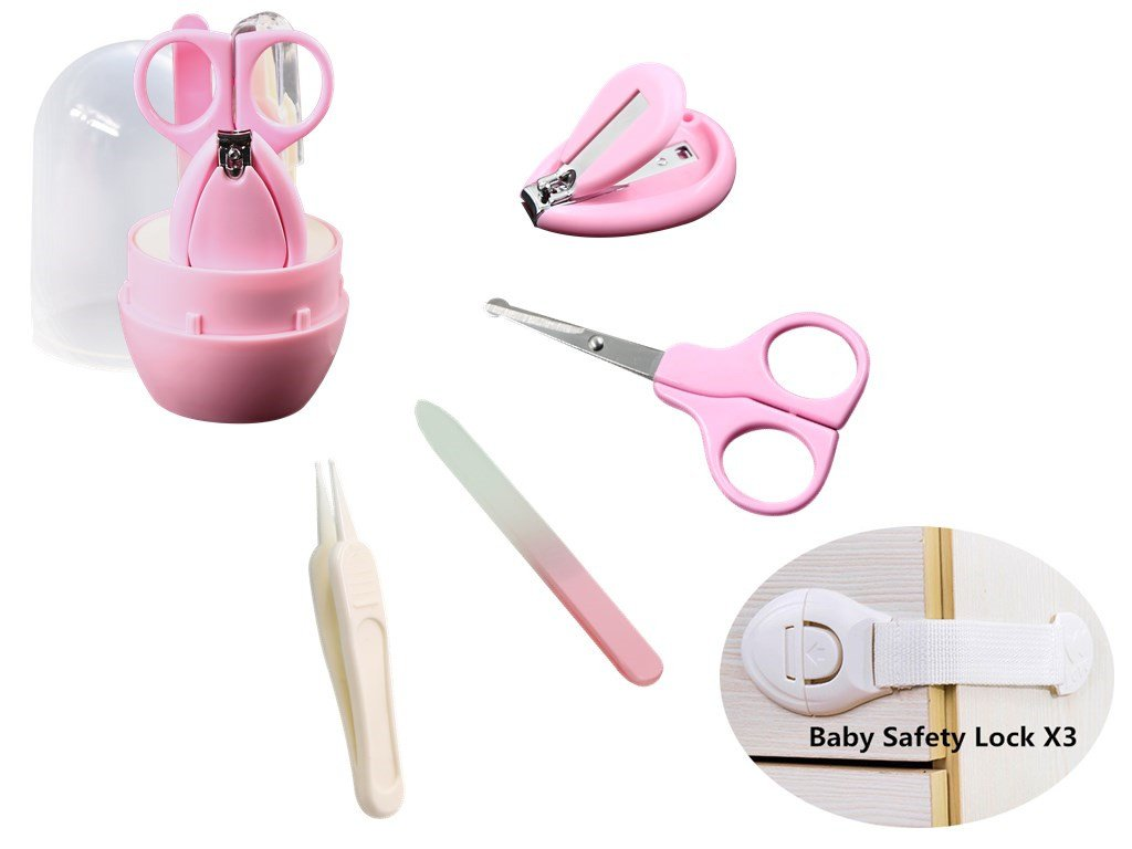 Baby Nails Clipper Set Infant Manicure Kit, Include Baby Nail Clippers Scissors Tweezers Nail file, FREE baby Safety cabinet lock(3-pack).(Pink) Hailun