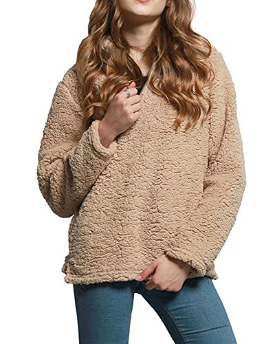 Cheap BingHang Women's Fashion Solid Color Zippered Sherpa Pullover Dress Sweater supplier