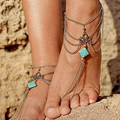 Asooll Boho Turquoise Tassel Anklet Chain Silver Layered Foot Chain with Toe Ring Sandals Jewelry for Women and Girls(1PC)