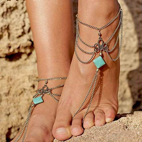 (Evazen Boho Turquoise Tassel Anklet Chain Silver Layered Foot Chain with Toe Ring Sandals Jewelry for Women and Girls(1PC))