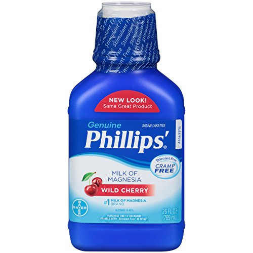 Phillips' Milk of Magnesia - Overnight Relief Of Occasional Constipation - Cramp Free Gentle Relief-  Liquid Laxative - Wild Cherry Flavor-  26 oz Bottle