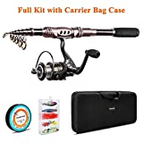 PLUSINNO Spinning Rod and Reel Combos Telescopic Fishing Rod Pole with Reel Line Lures Hooks Fishing Carrier Bag Case and Accessories Fishing Gear Organizer (2.7M 8.86FT Fishing Gear Organizer) …