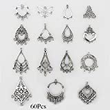 LolliBeads (TM) Antiqued Tibetan Silver Earring Chandelier Earring Jewelry Making Kit for Earring Drop and Charm Pendant Assorted Pack (60 Pcs)